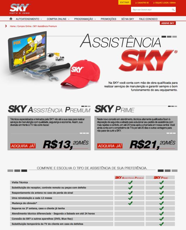 SKY Assistência Premium | Compra Online | SKY