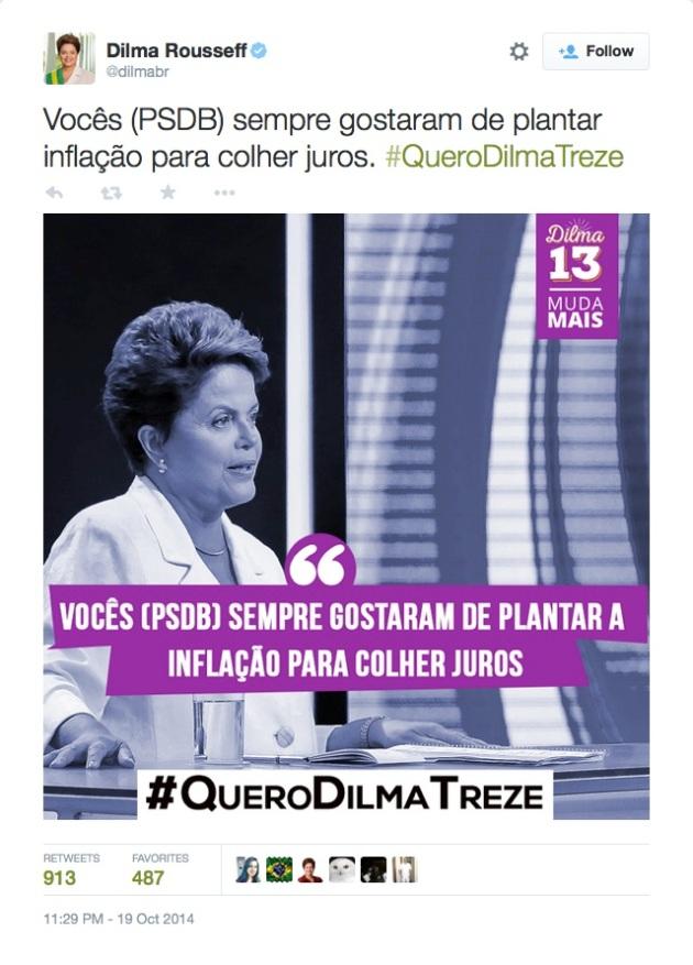 "Dilma Rousseff on Twitter- ""Vocês (PSDB) sempre gostaram de plantar inflação para colher juros. #QueroDilmaTreze http---t.co-OmnxZr4WTm"""