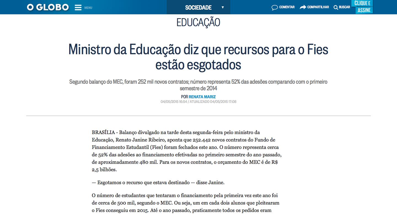 Ministro_da_Educação_diz_que_recursos_para_o_Fies_estão_esgotados_-_Jornal_O_Globo_-_2015-05-05_05.44.43
